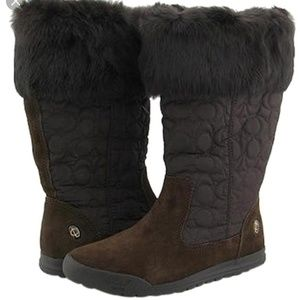 Coach Brown Talen Quilted Suede & Fur Boots 7.5